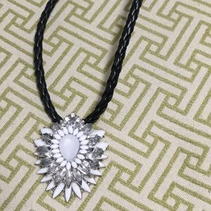 Jewelry - Black leather and Crystal pendant Necklace!